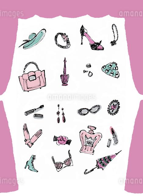 カーテンの中のファッション小物のイラスト素材 [FYI01650340]