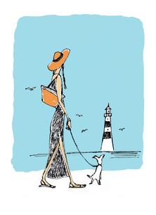 海辺を歩く犬を連れた女性のイラスト素材 [FYI01650345]
