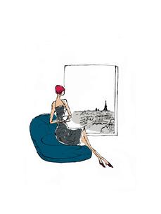 パリの風景が見える窓の側で椅子に座る女性のイラスト素材 [FYI01650361]