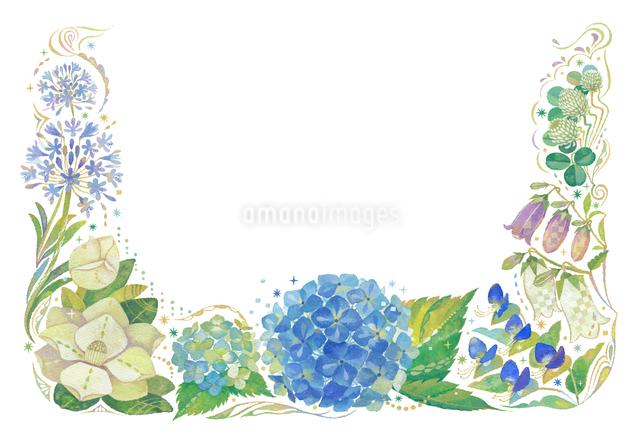 6月をイメージした花の飾りのイラスト素材 [FYI01652699]