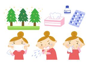 花粉症の原因と薬と症状のイラスト素材 [FYI01652706]