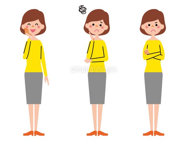 お母さん 表情3パターンのイラスト素材 [FYI01652714]