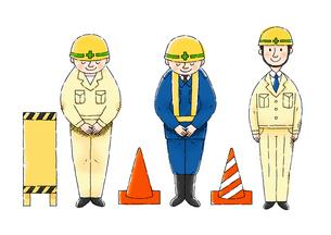 工事現場の作業員さん、注意看板、コーンのイラスト素材 [FYI01652719]