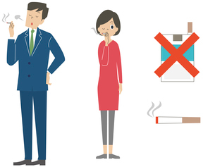 タバコを吸う男女とタバコアイコンのイラスト素材 [FYI01652723]
