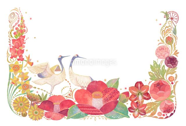 1月をイメージした花と鶴の飾りのイラスト素材 [FYI01652731]
