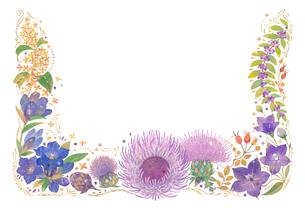 10月をイメージした花の飾りのイラスト素材 [FYI01652738]