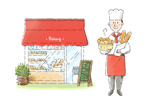 パン屋さんとパン職人のイラスト素材 [FYI01652743]