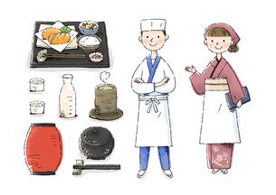 日本料理屋の店員のイラスト素材 [FYI01652747]