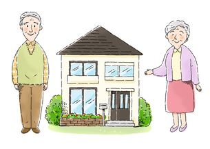 おじいさんとおばあさんと家のイラスト素材 [FYI01652749]
