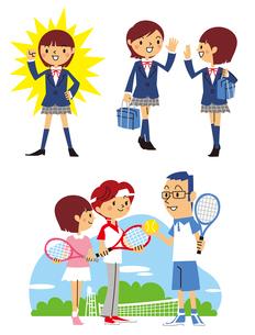 元気、友達と挨拶、家族でテニスする女子高生のイラスト素材 [FYI01652770]