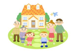 家と三世代家族 (夫婦と子供と祖父母)のイラスト素材 [FYI01652780]