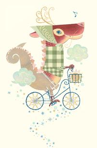 自転車に乗った龍のイラスト素材 [FYI01652783]