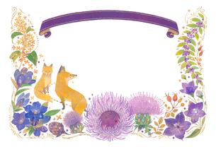 10月をイメージした花とキツネとリボンの飾りのイラスト素材 [FYI01652785]