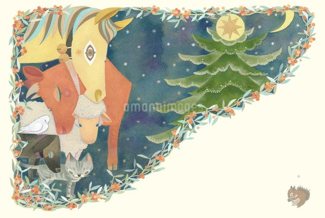 星月夜 クリスマスに動物たちも祈る ヤドリギに囲まれてのイラスト素材 [FYI01652788]