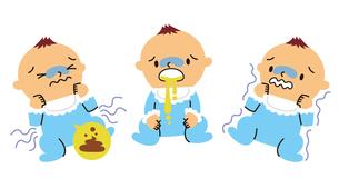 赤ちゃんの腹痛、嘔吐、悪寒のイラスト素材 [FYI01652805]