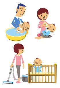 赤ちゃんの沐浴、授乳、部屋掃除のイラスト素材 [FYI01652821]