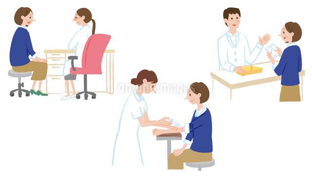 診察を受ける、注射、薬を受け取る女性のイラスト素材 [FYI01652828]