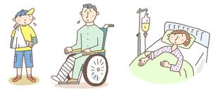 けがと入院のイメージ(家族)のイラスト素材 [FYI01652836]