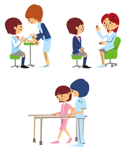 注射、診察、リハビリをする女子高生のイラスト素材 [FYI01652837]