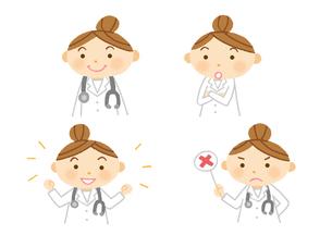 いろいろな表情の女医さんのイラスト素材 [FYI01652852]