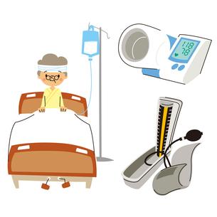 シニア女性入院(ベッド)、デジタル血圧計、血圧計のイラスト素材 [FYI01652854]