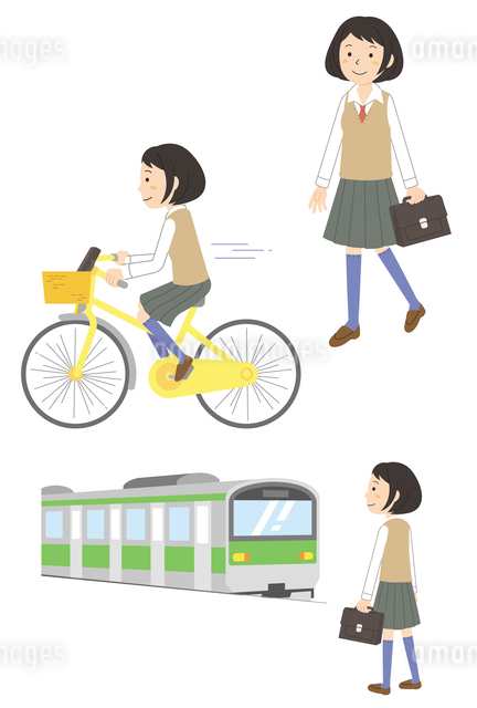通学する女子学生(徒歩・自転車・電車)のイラスト素材 [FYI01652862]