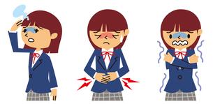 めまい、腹痛、悪寒の女子高生のイラスト素材 [FYI01652870]