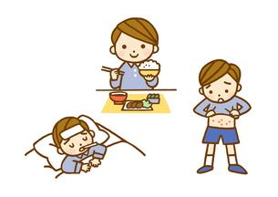 子供・食事風景と発熱と発疹のイラスト素材 [FYI01652871]