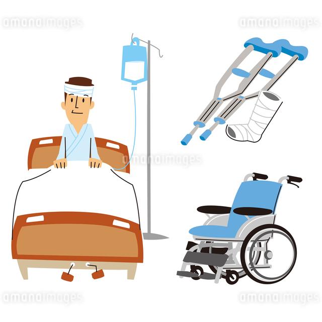 男性入院(ベッド)、ギブスと松葉杖、車いすのイラスト素材 [FYI01652883]