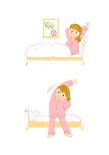 若い女性の朝 起床 ストレッチのイラスト素材 [FYI01652893]