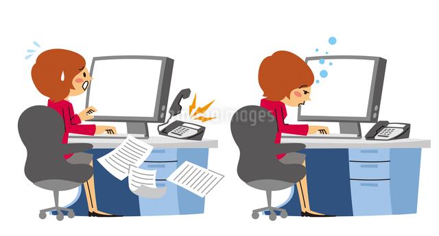 パソコン前で忙しく仕事する、パソコン前で眠るOLのイラスト素材 [FYI01652901]