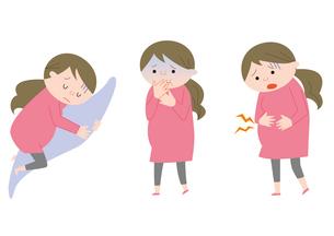 妊婦3パターン(横たわる・つわり・腹部の痛み)のイラスト素材 [FYI01652908]