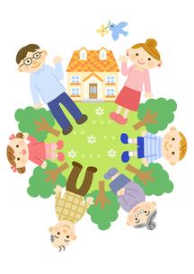 家と三世代家族 (夫婦と子供と祖父母)のイラスト素材 [FYI01652917]