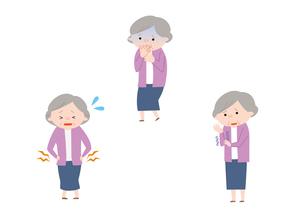 腰痛、吐き気、しびれを感じるおばあさんのイラスト素材 [FYI01652922]