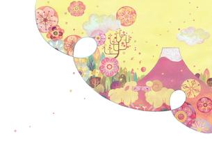 赤富士の裾野で出会ったヒツジたちのイラスト素材 [FYI01652933]