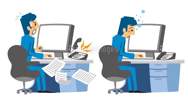パソコン前で忙しく仕事する、パソコン前で眠るサラリーマンのイラスト素材 [FYI01652935]