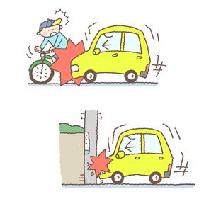自動車事故のイメージ(車対自転車、車対物)のイラスト素材 [FYI01652937]