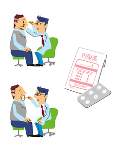 ミドル男性患者の目を診察、喉を診察、内服薬のイラスト素材 [FYI01652939]