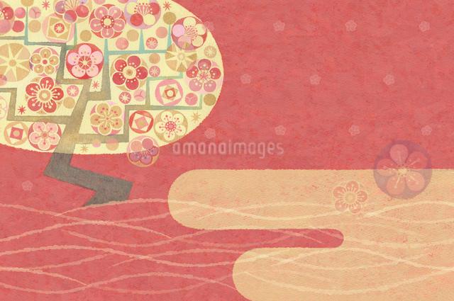 瑞雲の空に香る梅の花のイラスト素材 [FYI01652948]