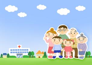 病院と家族のイラスト素材 [FYI01652959]