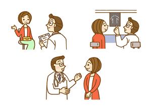 問診とレントゲンと医師とのやり取りのイラスト素材 [FYI01652961]