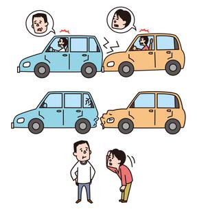 追突事故、事故車両、謝る運転手のイラスト素材 [FYI01652963]