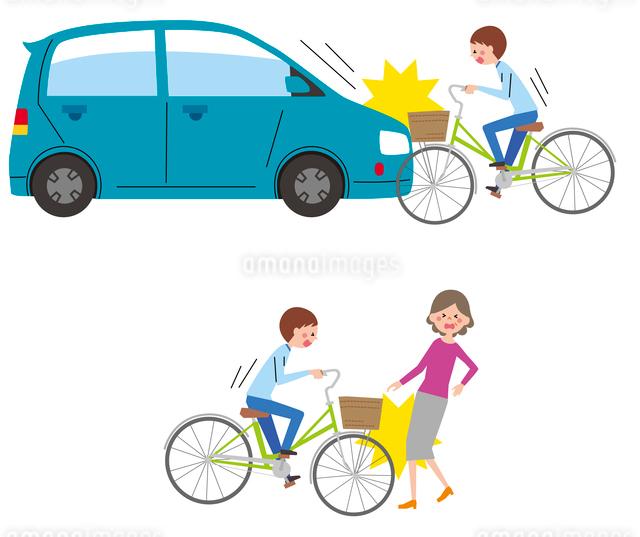 車と自転車の事故、自転と人の事故のイラスト素材 [FYI01652969]