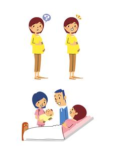 産婦人科/妊婦(疑問、解決)分娩士が乳児を抱えるのイラスト素材 [FYI01652975]