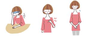 貧血、胸の痛み、子宮の痛みがある女性のイラスト素材 [FYI01652981]