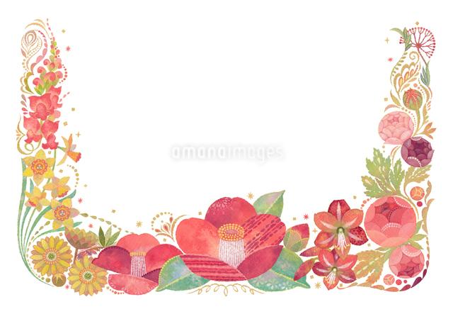 1月をイメージした花の飾りのイラスト素材 [FYI01652995]