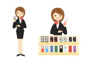 携帯電話ショップの販売員のイラスト素材 [FYI01653003]