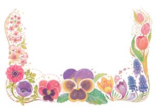 4月をイメージした花の飾りのイラスト素材 [FYI01653032]