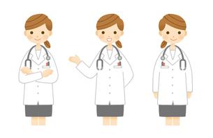 説明する女医さんのポーズ 腕組み 手差しのイラスト素材 [FYI01653056]