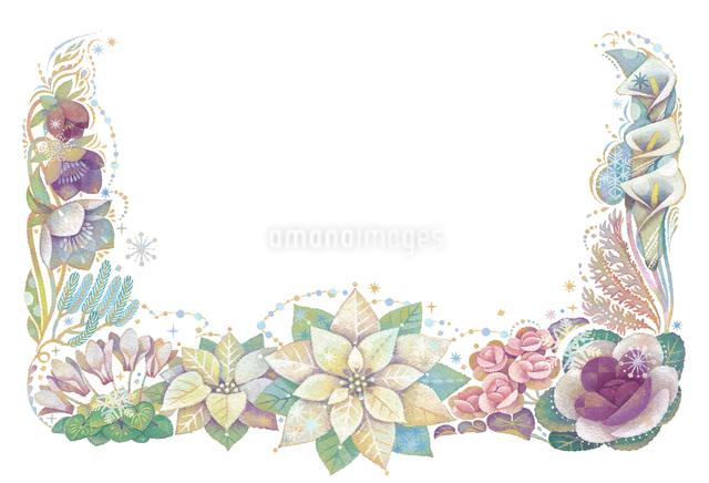 12月をイメージした花の飾りのイラスト素材 [FYI01653074]